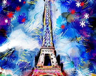Eiffel Tower Art, France Painting, French Art, Paris Artwork