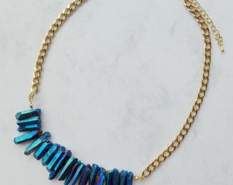Metallic Crystal Quartz Bib Chain Necklace Mystique Blue