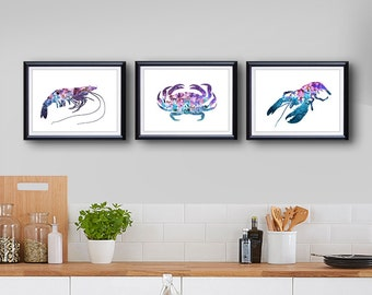 Lobster Crab Prawn Ocean Animal Print - Lobster Crab Prawn Painting - Wall Art - Wall Decor - Home Decor, House Warming Gifts