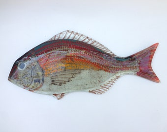Red Seabream Fish Fused Glass Wall Hanging