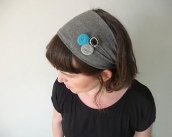 Grey headwrap, Fabric headband, Grey headscarf, Hair Scarf, Head wrap for women