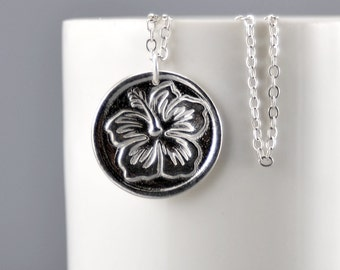 Hibiscus Flower Necklace Sterling Silver Hawaiian Hibiscus Flower Pendant Silver Hibiscus Charm Minimalist Jewelry Beach Jewelry Surfer