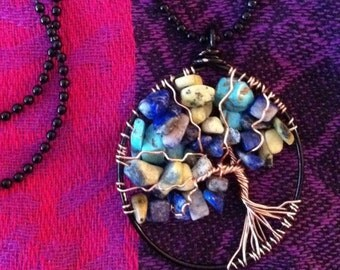 Blue Night Blossoming Tree of Life Pendant