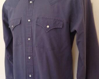 Vintage Mens small S Plains Shirt Cowboy Western Pearl Snap Rodeo Long Sleeve