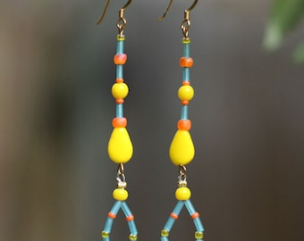 Glass Bead Earrings Aqua Blue, Yellow, Orange - Dangle Earrings - Drop Earrings - Gifts Under 20 - Beachy