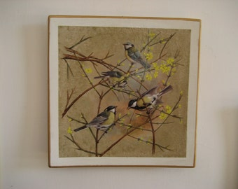 Hand painted ceramic plate: titmice on the thorns (013-2015)