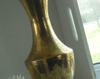 """Vintage Etched Brass 10.5"""" Tall Vase"""