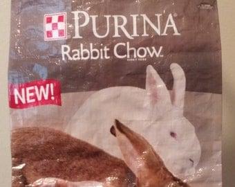 Feedbag tote: Bunnies in Grey