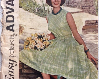 1960s uncut vintage sewing pattern Advance 2838 Bust 34 W 26 H 36 Retro 60s Mad Men Rockabilly pleated full skirt easy dress fitted bodice