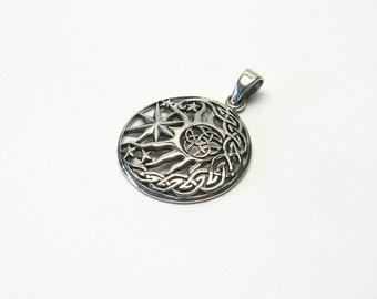 Crescent Sun Star Celts Silver 925 Triquetta jewelry pendant