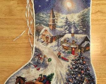 Custom Hand Made Cross Stitch Christmas Stocking