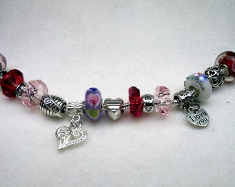 Valentine Love and Hearts Pink and Red European Charm Bracelet