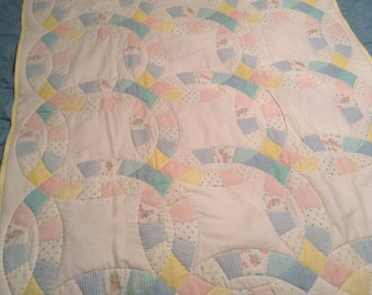 """Hand quilted baby panel in light pastels size 43"""" X 32 1/2"""""""