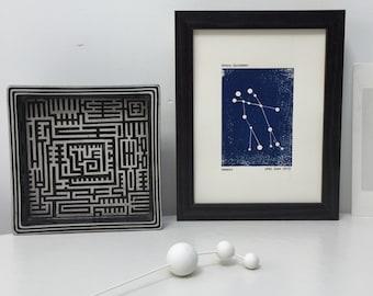 Framed Gemini Constellation Print. Personalised Star Sign Horoscope Zodiac Woodblock. New Baby Gift.