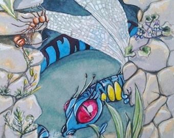 Dragon art watercolour painting original, Dragon's Lair