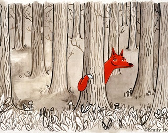 Art print - Fox in the Forest – illustrated wall art, red with black and white A4