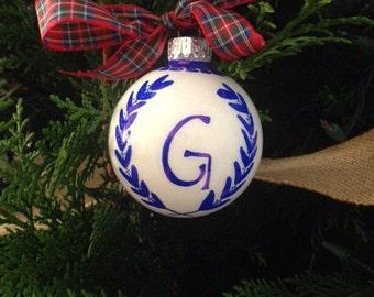 Monogrammed Ornament | CUSTOM ORDER, chinoiserie, monogram, initial, Hostess, Holiday, Christmas, Housewarming, Gift