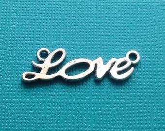10 pc Love Word Connector Charm Silver - CS2405