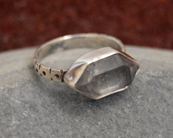 Double Terminated Quartz Crystal Ring