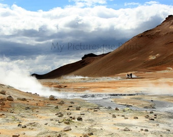 seething earth - sulfur fields of Namaskard in Iceland, volcanic, geothermal