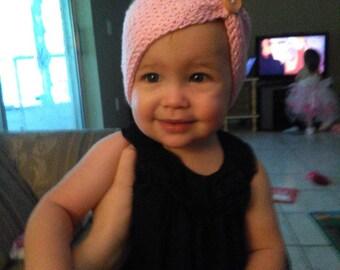 Headband bow, crocheted with cotton yarn. Headband bow size 12 month- 2t