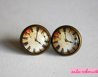 Cabochon earrings 'Time' 12 mm