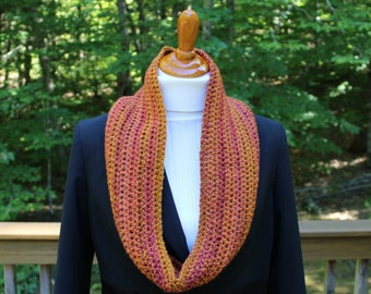 Crochet Infinity Scarf, Fall Colors Scarf,  Orange Gold Scarf, Winter Scarf, Winter Fashion Accessory, Gift for Her, Gift under 20