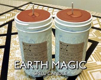 Earth Magic | Pure Vegan Soy Wax 12 oz. Burnt Sienna/Brown Ritual Meditation Spell Magick Candle with Clove & Cinnamon Essential Oils
