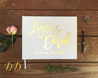 Wedding Guest Book Personalized Real Foil Guest Books Wedding Custom Guestbook Wedding Memory Book Wedding Gold Foil Horizontal guest book