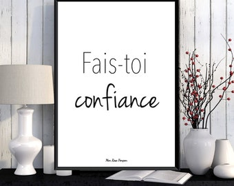 French quote design, Poster inspirational quote, French wall art, Inspirational print, Home wall decor, Typography print, Black and white