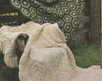 "1970s Beautiful Cream ""All Around"" DIY Aran KNIT Afghan - Instant PDF Digital Download"