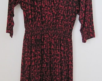 Dress, karin stevens petites by Steven Stoller, Size 4, Red & Back Design, Vintage
