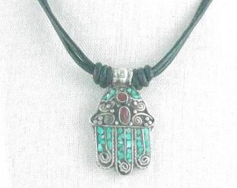 Pendant hand of Fatima turquoise