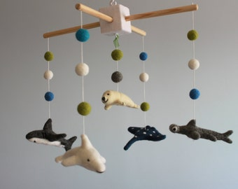 Creatures of the Sea,Needle Felt  Fish Baby Mobile,  Nursery Mobile, Sea Mobile, Felted Sea Animals, Needle Felted Mobile