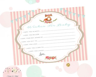 Little Fox Wishes for Baby Baby Shower Activity, Woodland Wishes for Baby, Baby Shower Well Wishes,