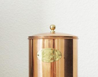 Vintage Copper Sugar Canister with Lid   Boho Decor   Kitchenware