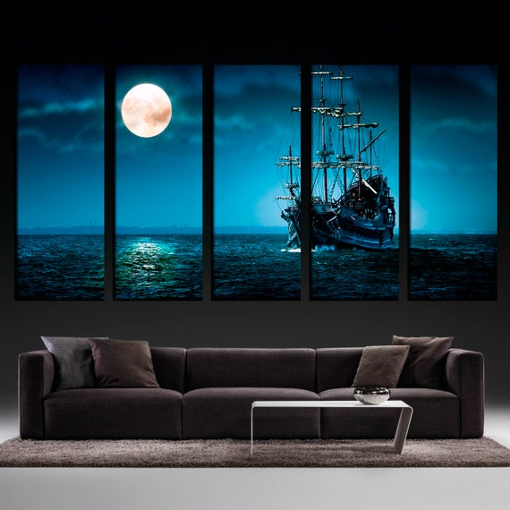 Moonlight Ocean Ship Extra Large Wall Art Living Room Wall
