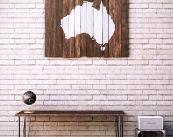 Australia Map Wood - Reclaimed Pallet Boards