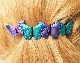 Butterfly Hair Barrette Ex Large French Barrette, Teal, blue, Purple, aqua