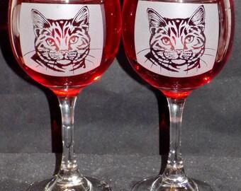 Cat Design Wine Glass