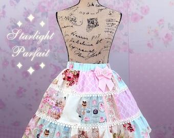 Pastel Patchwork Sweet Skirt | Kawaii, Harajuku, lolita Skirt | Handmade in the USA | Ready to ship | Size: SM |