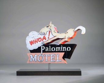 Whoa Palomino Motel neon sign photo / motel art / vintage neon sign / mid century decor / Horse art / route 66 art / roadside art / palomino