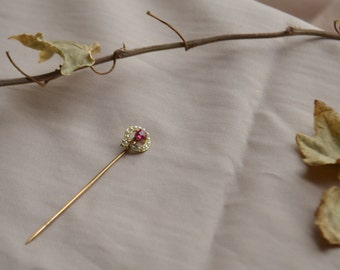 Vintage gold stick pin with ruby and seed pearls, Vintage stick pin, Vintage gold pin, Vintage ruby pin, Vintage seed pearl pin