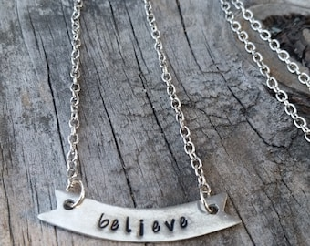 Banner Necklace - BELIEVE - hand stamped