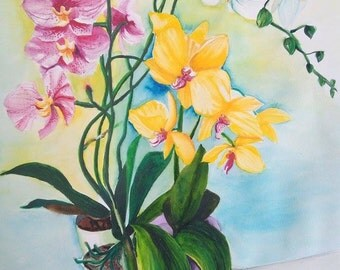 Pink, yellow and white orchids, watercolours 50mm x 65mm