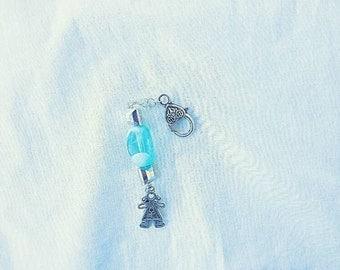Blue beaded zipper pulls with female charm  zipper charms  purse dangle  boho zipper pulls  hippie zipper pulls  girly accessories  gifts 
