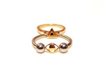 14K Yellow and White Gold Eye Ring, Illuminati Ring, All Seeing Eye Ring, Solid gold ring, Gold all seeing eye ring, Gold Barbell Ring