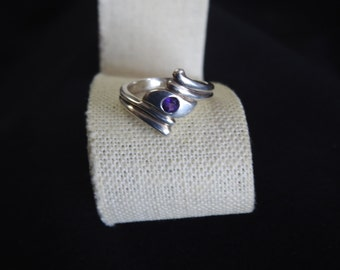 stunning vintage sterling silver and amethyst ring size 8 1/2