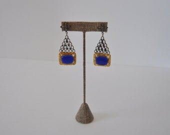 Antique Finished Earrings with Blue Stone