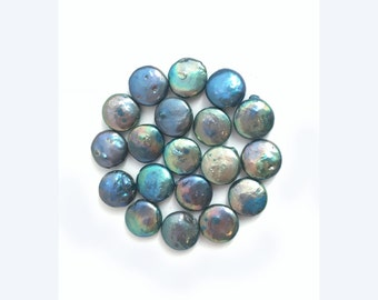 12mm Teal Blue Freshwater Coin Pearl Bead, Flat Round, Natural, Wedding, Necklace, Bracelet, 10pcs